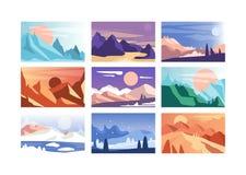 Σύνολο τοπίων βουνών, σκηνές της φύσης στη διαφορετική εποχή του χρόνου και τη διανυσματική απεικόνιση ημέρας ελεύθερη απεικόνιση δικαιώματος