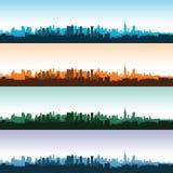 Σύνολο τοπίων πόλεων στους διαφορετικούς χρόνους της ημέρας επίσης corel σύρετε το διάνυσμα απεικόνισης Στοκ Εικόνες