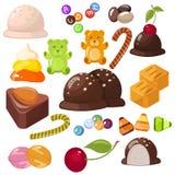 Σύνολο τοπ δημοφιλών γλυκών επιδορπίων για αποκριές, hanukkah, Χριστούγεννα Φραγμοί σοκολάτας, καραμέλες και άλλα γλυκά τρόφιμα ελεύθερη απεικόνιση δικαιώματος