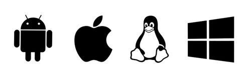 Σύνολο τοπ λογότυπων λειτουργικών συστημάτων εμπορικών σημάτων διανυσματική απεικόνιση