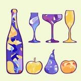 Σύνολο του νέου έτους σαμπάνιας, γυαλιά κρασιού, φρούτα απεικόνιση αποθεμάτων