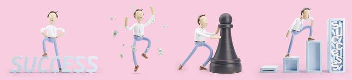 Σύνολο τρισδιάστατων απεικονίσεων Ο επιχειρηματίας Jimmy πηγαίνει στην επιτυχία απεικόνιση αποθεμάτων