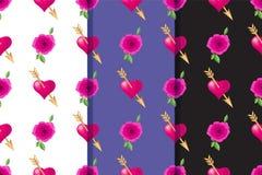Σύνολο τριών άνευ ραφής σχεδίων με τις καρδιές που διαπερνιούνται από τα χρυσά βέλη και τα τριαντάφυλλα Τυπογραφία διακοπών ημέρα ελεύθερη απεικόνιση δικαιώματος