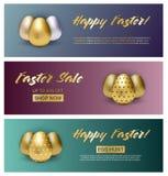 Σύνολο τριών εμβλημάτων Πάσχας στο υπόβαθρο κλίσης με τα μεταλλικά αυγά απεικόνιση αποθεμάτων