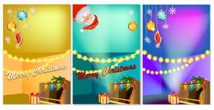 Σύνολο τριών κάθετων νέων εμβλημάτων έτους με το εγχώριο εσωτερικό κινούμενων σχεδίων Χριστουγέννων με την καυτή εστία απεικόνιση αποθεμάτων