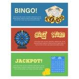 Σύνολο τριών οριζόντιων εμβλημάτων λαχειοφόρων αγορών με τις σφαίρες bingo εισιτηρίων δελτίων που σύρουν τη μηχανή και το editabl διανυσματική απεικόνιση