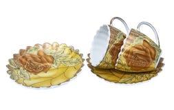 Σύνολο τσαγιού, σύνολο καφέ, πιατάκι, φλυτζάνι, άσπρο υπόβαθρο, εργαλείο κουζινών, σκεύος για την κουζίνα Στοκ εικόνα με δικαίωμα ελεύθερης χρήσης