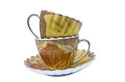 Σύνολο τσαγιού, σύνολο καφέ, πιατάκι, φλυτζάνι, άσπρο υπόβαθρο, εργαλείο κουζινών, σκεύος για την κουζίνα Στοκ Εικόνες