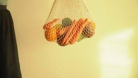 Σύνολο τσαντών σειράς πλέγματος ανακύκλωσης των λαχανικών και των φρούτων, eco frindly καμία πλαστική έννοια 4k φιλμ μικρού μήκους