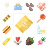 Σύνολο τσιπ, ραδίκι, φουντούκι, χασάπης, μουστάρδα, γαλακτοκομείο, χοτ-ντογκ διανυσματική απεικόνιση