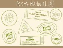 Σύνολο τυπωμένης ύλης γραμματοσήμων στο αναδρομικό ύφος για τα καταστήματα αγροτικών τροφίμων Στοκ φωτογραφία με δικαίωμα ελεύθερης χρήσης
