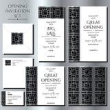 Σύνολο των καρτών πρόσκλησης με την ασημένια διακόσμηση Άνοιγμα καταστημάτων Συλλογή: κάρτες, φάκελος, επαγγελματική κάρτα διανυσματική απεικόνιση