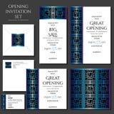 Σύνολο των καρτών πρόσκλησης με την μπλε διακόσμηση Άνοιγμα καταστημάτων ελεύθερη απεικόνιση δικαιώματος