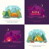 Σύνολο υπαίθριας άποψης ημέρας ή νύχτας σχετικά με το στρατόπεδο στο δάσος Στοκ εικόνα με δικαίωμα ελεύθερης χρήσης