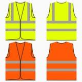 Σύνολο φανέλλων ασφάλειας κίτρινης και πορτοκαλιάς εργασίας ομοιόμορφης με τα αντανακλαστικά λωρίδες διάνυσμα διανυσματική απεικόνιση