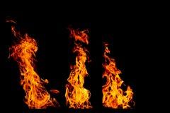 Σύνολο φλογών πυρκαγιάς που απομονώνεται απομονωμένο στο ο Μαύρος υπόβαθρο - όμορφο Στοκ Φωτογραφίες