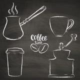 Σύνολο φλυτζανιού καφέ, μύλος, περιγράμματα δοχείων grunge Στοκ Εικόνα