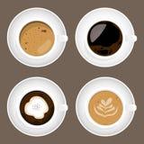 Σύνολο φλυτζανιών καφέ, διάνυσμα ελεύθερη απεικόνιση δικαιώματος