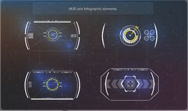 Σύνολο φουτουριστικού μπλε infographics ως head-up επίδειξη Στοιχεία ναυσιπλοΐας επίδειξης για τον Ιστό και app Στοκ Φωτογραφία