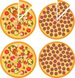 Σύνολο φρέσκιας πίτσας με τις ντομάτες, την πίτσα τυριών, μανιταριών και Pepperoni, τοπ άποψη Απεικόνιση ράστερ διανυσματική απεικόνιση