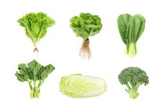 Σύνολο φρέσκων πράσινων λαχανικών που απομονώνεται στο άσπρο υπόβαθρο στοκ εικόνες με δικαίωμα ελεύθερης χρήσης