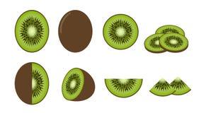Σύνολο φρέσκων φρούτων ακτινίδιων που απομονώνεται στο άσπρο υπόβαθρο Στοκ Εικόνες