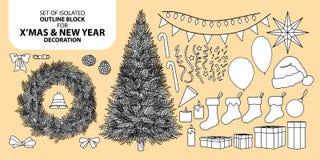 Σύνολο φραγμού διακοσμήσεων για τα Χριστούγεννα και το νέο έτος Διανυσματική απεικόνιση στη μαύρη περίληψη και το άσπρο αεροπλάνο Στοκ φωτογραφία με δικαίωμα ελεύθερης χρήσης