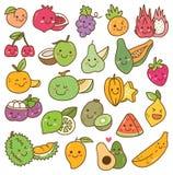 Σύνολο φρούτων kawaii στο άσπρο υπόβαθρο διανυσματική απεικόνιση