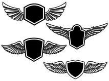 Σύνολο φτερωτών εμβλημάτων Στοιχείο σχεδίου για την αφίσα, λογότυπο, ετικέτα, σημάδι, μπλούζα ελεύθερη απεικόνιση δικαιώματος
