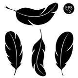 Σύνολο φτερών ` Διανυσματική μαύρη σκιαγραφία φτερών στο άσπρο υπόβαθρο Στοκ φωτογραφία με δικαίωμα ελεύθερης χρήσης