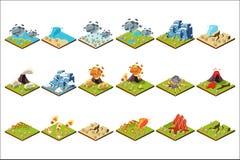 Σύνολο φυσικής καταστροφής, ηφαιστειακή έκρηξη, ανεμοστρόβιλος, πλημμύρα, πυρκαγιά, διανυσματικές απεικονίσεις ξηρασίας σε ένα άσ απεικόνιση αποθεμάτων