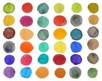 Σύνολο φωτεινού ζωηρόχρωμου κύκλου watercolor στο άσπρο υπόβαθρο απεικόνιση αποθεμάτων