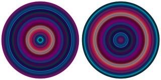 Σύνολο 2 φωτεινών αφηρημένων φωτεινών ακτινωτών ριγωτών κύκλων στους πορφυρούς και μπλε τόνους που απομονώνονται στο άσπρο υπόβαθ ελεύθερη απεικόνιση δικαιώματος