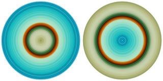 Σύνολο 2 φωτεινών αφηρημένων ζωηρόχρωμων κύκλων που απομονώνονται στο άσπρο υπόβαθρο Κυκλικές γραμμές, ακτινωτή ριγωτή σύσταση στ διανυσματική απεικόνιση