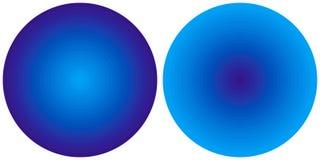 Σύνολο 2 φωτεινών αφηρημένων μπλε ακτινωτών κύκλων κλίσης που απομονώνονται στο άσπρο υπόβαθρο Σύσταση με τις κυκλικές γραμμές Ζω διανυσματική απεικόνιση