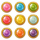 Σύνολο φωτεινών χρυσός-καλυμμένων κουμπιών κρυστάλλου απεικόνιση αποθεμάτων