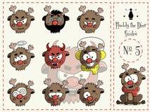 Σύνολο χαμόγελων κατακόκκινων τα ελάφια 5 Στοκ εικόνα με δικαίωμα ελεύθερης χρήσης