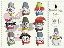 Σύνολο χαμόγελων Dugg ο χιονάνθρωπος, αριθμός 1 διανυσματική απεικόνιση