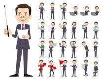 Σύνολο χαρακτήρα επιχειρηματιών Παρουσίαση στη διάφορη δράση Διανυσματική απεικόνιση