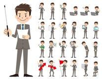 Σύνολο χαρακτήρα επιχειρηματιών Παρουσίαση στη διάφορη δράση Ελεύθερη απεικόνιση δικαιώματος