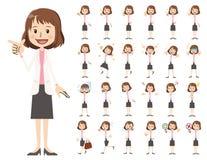Σύνολο χαρακτήρα επιχειρησιακών γυναικών Διάφορος θέτει και συγκινήσεις Ελεύθερη απεικόνιση δικαιώματος