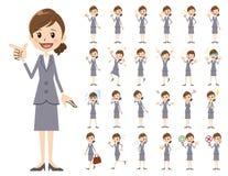 Σύνολο χαρακτήρα επιχειρησιακών γυναικών Διάφορος θέτει και συγκινήσεις Απεικόνιση αποθεμάτων