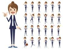Σύνολο χαρακτήρα επιχειρησιακών γυναικών Διάφορος θέτει και συγκινήσεις Διανυσματική απεικόνιση