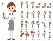 Σύνολο χαρακτήρα επιχειρησιακών γυναικών Παρουσίαση στη διάφορη δράση Διανυσματική απεικόνιση