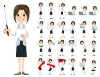 Σύνολο χαρακτήρα επιχειρησιακών γυναικών Παρουσίαση στη διάφορη δράση Ελεύθερη απεικόνιση δικαιώματος