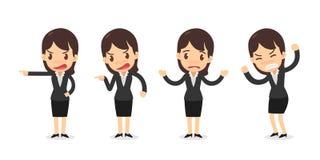 Σύνολο χαρακτήρα επιχειρησιακών γυναικών στις ενέργειες Διανυσματική απεικόνιση