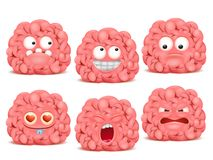 Σύνολο χαρακτήρα emoji κινούμενων σχεδίων εγκεφάλου Ελεύθερη απεικόνιση δικαιώματος