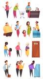Σύνολο χαρακτήρων ανθρώπων σειρών αναμονής Στοκ εικόνα με δικαίωμα ελεύθερης χρήσης