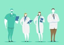 Σύνολο χαρακτήρων γιατρών Έννοια ιατρικής ομάδας στο διανυσματικό σχέδιο απεικόνισης ελεύθερη απεικόνιση δικαιώματος