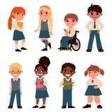 Σύνολο χαρακτήρων μαθητών που απομονώνονται στο άσπρο υπόβαθρο Σχολική στολή r διανυσματική απεικόνιση